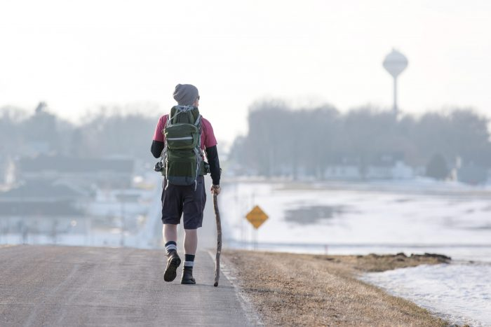 Arlington, Nebraska --Arlington High School history teacher Barry Jurgensen takes a training walk Wednesday, Feb. 17, 2016, in Arlington, Neb. Jurgensen is preparing for a 500-mile walk from Nebraska City to Chicago to raise awareness about slavery - past and present - which he plans to begin in June.(MATT DIXON/THE WORLD-HERALD)